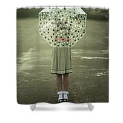 Polka Dotted Umbrella Shower Curtain by Joana Kruse