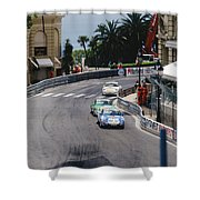 Porsches At Monte Carlo Casino Square Shower Curtain by John Bowers