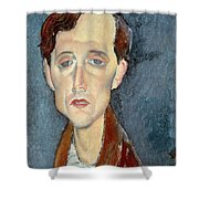 Portrait Of Franz Hellens Shower Curtain by Modigliani