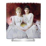 Portrait Of Marthe And Terese Galoppe Shower Curtain by Leon Joseph Bonnat