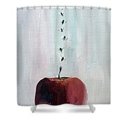 Portrait Of Seven Flies Flying Over An Apple Shower Curtain by Fabrizio Cassetta