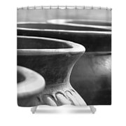 Pots In Black And White Shower Curtain by Kathy Clark