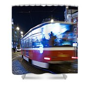 Prague tram Shower Curtain by Stylianos Kleanthous