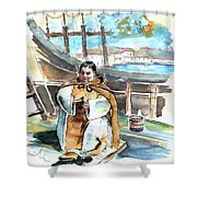Preaching The Bible On The Conquistadores Boat In Vila Do Conde In Portugal Shower Curtain by Miki De Goodaboom