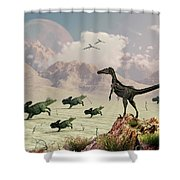 Protoceratops Stampede In Fear Shower Curtain by Mark Stevenson
