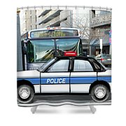 Proud Police Car in the City  Shower Curtain by Elaine Plesser