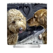Puppy Love Shower Curtain by Madeline Ellis
