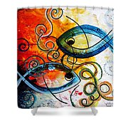 Purposeful Ichthus By Two Shower Curtain by J Vincent Scarpace