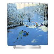 Pushing The Sledge Shower Curtain by Andrew Macara