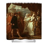 Queen Philippa Interceding For The Lives Of The Burghers Of Calais Shower Curtain by Benjamin West