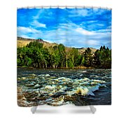 Raging River Shower Curtain by Robert Bales