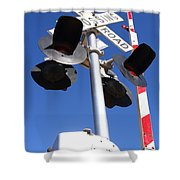 Railroad Crossing Sign And Gate . 7d10645 Shower Curtain by Wingsdomain Art and Photography
