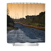Railway Into Town Shower Curtain by Carolyn Marshall
