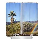 Rainbow At Old Faithful Shower Curtain by Jenna Szerlag