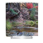 Rainbow Of The Season And River Over Rocks Shower Curtain by Heather Kirk