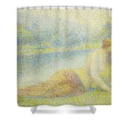 Reclining Nude Shower Curtain by Hippolyte Petitjean