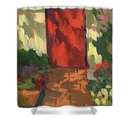 Red Door - Shadow and Light Shower Curtain by Diane McClary