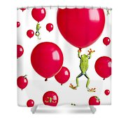 Red-eyed Treefrogs Floating On Red Shower Curtain by Corey Hochachka