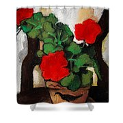 RED GERANIUM Shower Curtain by Mona Edulesco