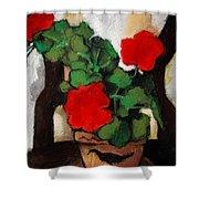 Red Geranium Shower Curtain by Mona Edulesco