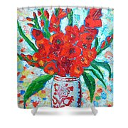 Red Gladiolus Shower Curtain by Ana Maria Edulescu
