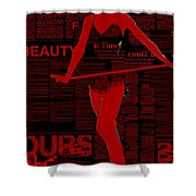 Red Paper Dance Shower Curtain by Naxart Studio