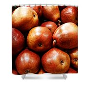 Red Pears Shower Curtain by Methune Hively