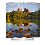 Red Rock Crossing Arizona Shower Curtain by Tim Fitzharris