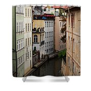 Red Rooftops In Prague Canal Shower Curtain by Linda Woods