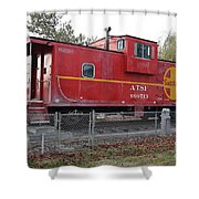 Red Sante Fe Caboose Train . 7D10329 Shower Curtain by Wingsdomain Art and Photography