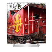 Red Sante Fe Caboose Train . 7d10332 Shower Curtain by Wingsdomain Art and Photography