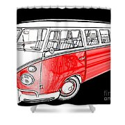 Red Volkswagen Shower Curtain by Cheryl Young
