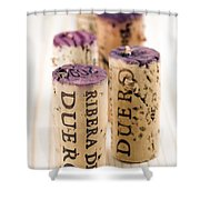 Red Wine Corks From Ribera Del Duero Shower Curtain by Frank Tschakert