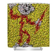 Reddy Kilowatt Bottle Cap Mosaic Shower Curtain by Paul Van Scott