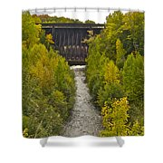Redridge Steel Dam 7844 Shower Curtain by Michael Peychich
