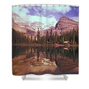 Reflection Of Cabins And Mountains In Shower Curtain by Carson Ganci