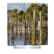 Reflections At Fort Pierce Shower Curtain by Trish Tritz