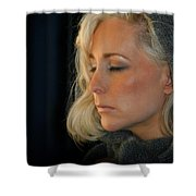 Relaxed Blond Woman Shower Curtain by Henrik Lehnerer