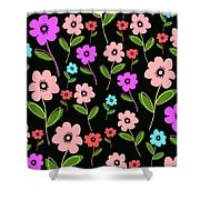 Retro Florals Shower Curtain by Louisa Knight