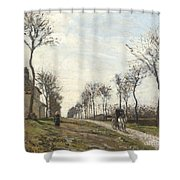 Road In Louveciennes Shower Curtain by Camille Pissarro