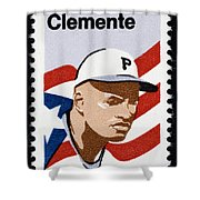 Roberto Clemente Shower Curtain by Granger