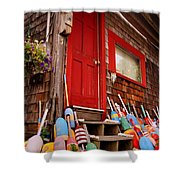 Rockport Buoys Shower Curtain by Joann Vitali
