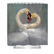 Romantic Image Of Courting Swans Shower Curtain by Louise Heusinkveld