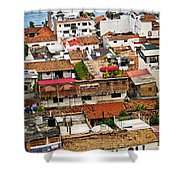 Rooftops in Puerto Vallarta Mexico Shower Curtain by Elena Elisseeva
