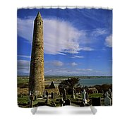 Round Tower, Ardmore, Co Waterford Shower Curtain by The Irish Image Collection