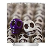 Royal Purple And White Shower Curtain by Mike Herdering