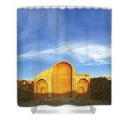 Ruins Of Shivta Byzantine Church Shower Curtain by Nir Ben-Yosef