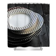 Rural Plates Shower Curtain by Joana Kruse