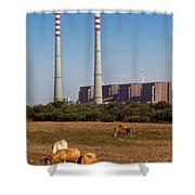 Rural Power Shower Curtain by Carlos Caetano