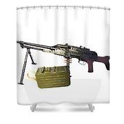 Russian Pkm General-purpose Machine Gun Shower Curtain by Andrew Chittock